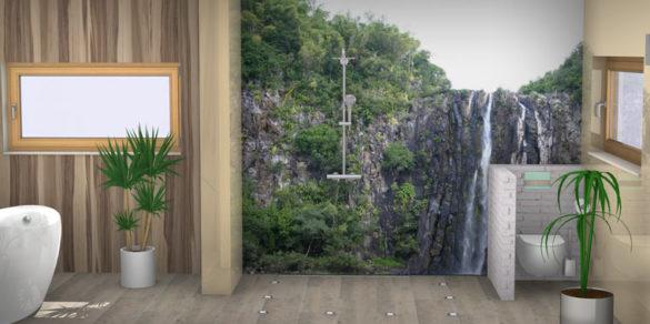 Badezimmer mit Urwald-Design