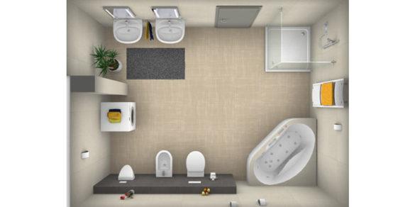 Badezimmer-Plan mit Eckbadewanne