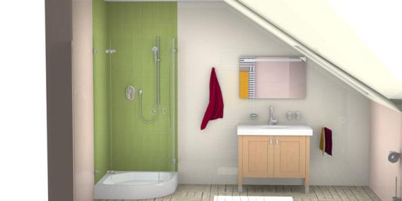 Badezimmer-Planung mit Dachschräge
